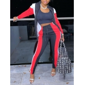 Lovely Sportswear Striped Patchwork Red Two Piece