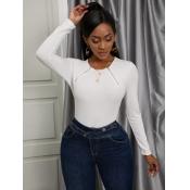 Lovely Trendy O Neck Zipper Design White Sweater