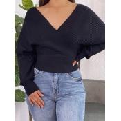 Lovely Casual V Neck Black Sweater