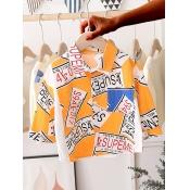 Lovely Street Letter Print Patchwork Yellow Boy Sh