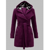 Lovely Casual Hooded Collar Knot Design Purple Tre