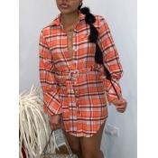 Lovely Casual Plaid Print Orange Mini Dress