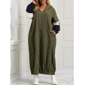 Lovely Casual Zipper Design Patchwork Army Green A