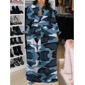 Lovely Casual Turndown Collar Camo Print Blue Maxi