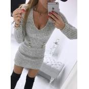 Lovely Casual V Neck Button Design Grey Mini Dress