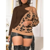 Lovely Stylish Leopard Print Patchwork Hollow-out