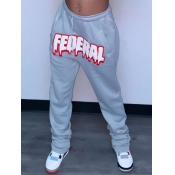 Lovely Casual Letter Print Drawstring Grey Pants