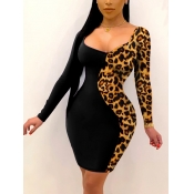 Lovely Casual U Neck Leopard Print Black Knee Leng