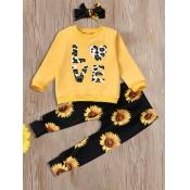 Lovely Trendy Sunflower Letter Print Yellow Girl T