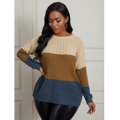 Lovely Casual O Neck Color-lump Stitching Light Ta