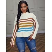 Lovely Chic Dropped Shoulder Striped White Sweater