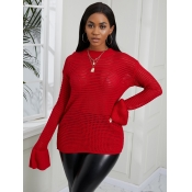 Lovely Sweet Flared Hollow-out Red Sweater
