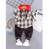 Lovely Street Hooded Collar Plaid Print Beige Boy