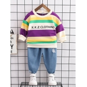 Lovely Casual Letter Print Striped Patchwork Boy T