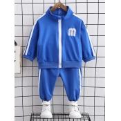 Lovely Sportswear Letter Print Striped Blue Boy Tw