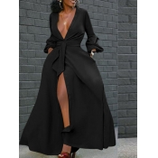 Lovely Party High Split Lace-up Black Floor Length