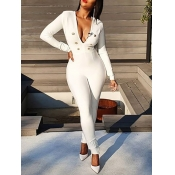 Lovely Party Deep V Neck Button Design White One-p
