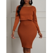 Lovely Casual O Neck Back Slit Caramel Two Piece D