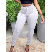 Lovely Casual Mid Waist Zipper Design White Pants