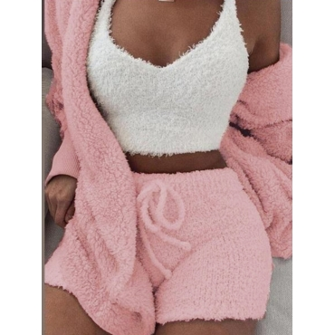 Lovely Stylish Lamb Fleece Pink Sleepwear(Three-pi