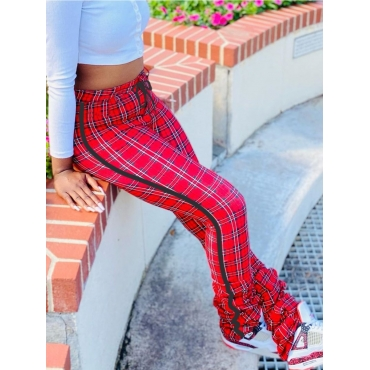 Lovely Street Grid Print Red And Black Pants