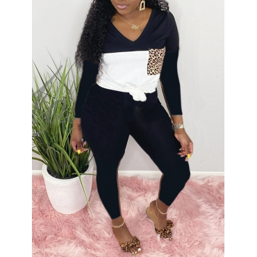 Lovely Casual V Neck Patchwork Black Two Piece Pan