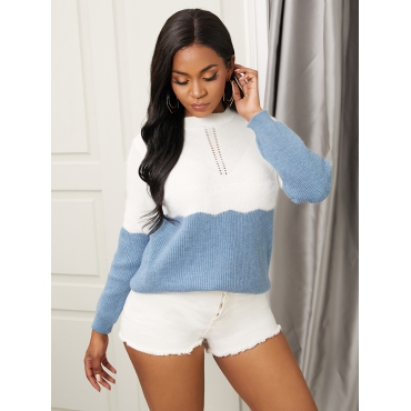 Lovely Chic O Neck Patchwork Blue Sweater
