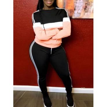Lovely Sportswear O Neck Patchwork Pink Plus Size