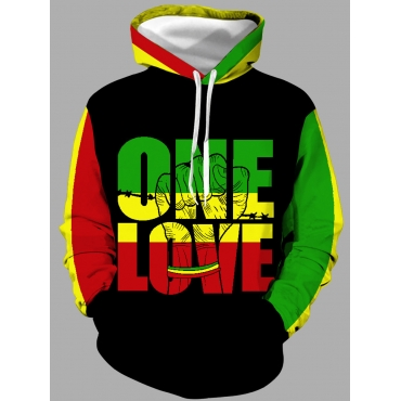 Lovely Casual Hooded Collar Letter Print Black Men