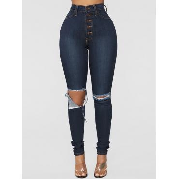Lovely Street Broken Holes Deep Blue Jeans