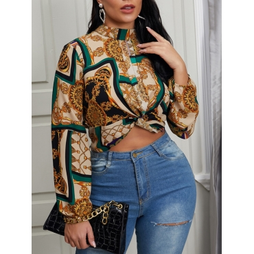 Lovely Formal Floral Print Patchwork Coffee Blouse