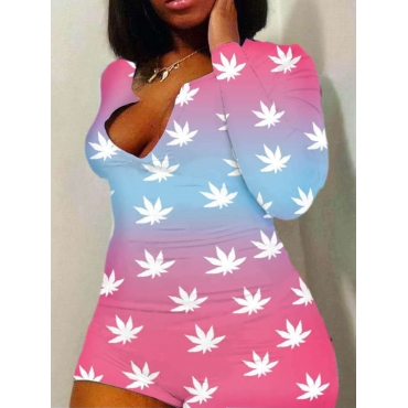 Lovely Sweet Floral Tie-dye Pink Plus Size One-pie