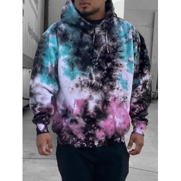 Lovely Casual Tie-dye Print Multicolor Hoodie