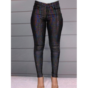 Lovely Formal Mid Waist Sequined Black Pants