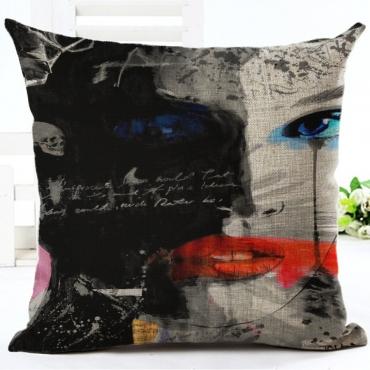 Lovely Basic Print Black Decorative Pillow Case