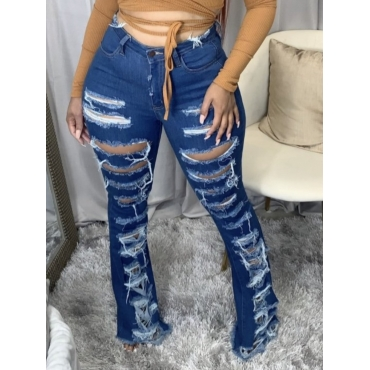 Lovely Street Broken Holes Raw Edge Deep Blue Jean