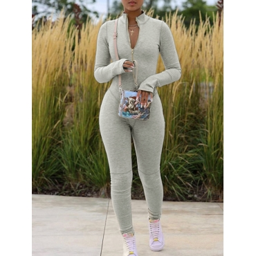 Lovely Sportswear Zipper Design Skinny Grey One-pi