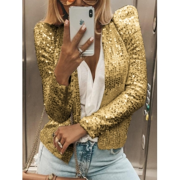 Lovely Stylish Conventional Collar Sequined Decora