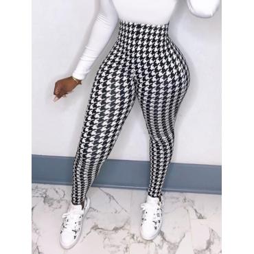 Lovely Chic Geometric Print Patchwork Black Pants