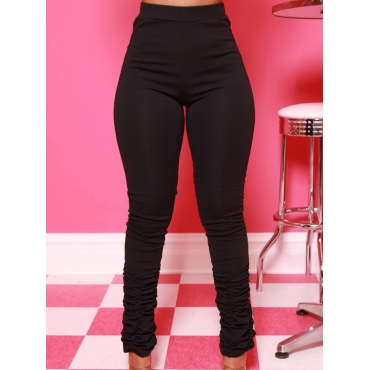 Lovely Casual High-waisted Fold Design Black Pants