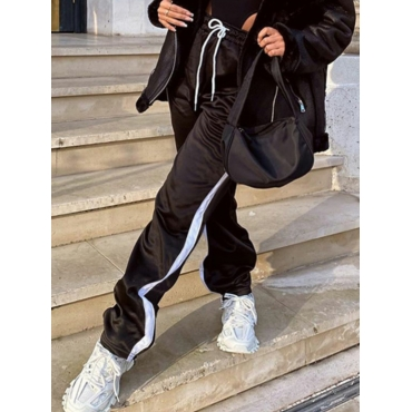 Lovely Sportswear Striped Drawstring Black Pants