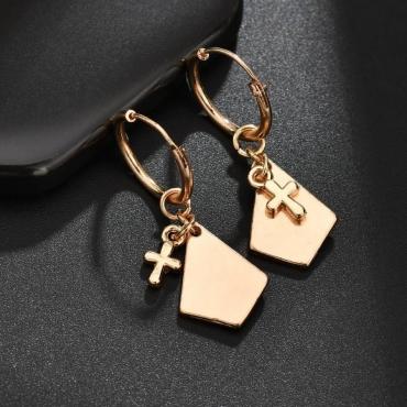 Lovely Stylish Cross Gold Earring