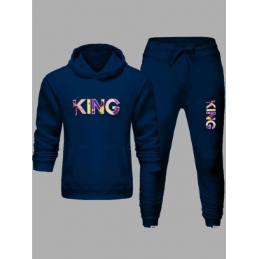 LW Men Street Hooded Collar Letter Print Navy Blue Two Piece Pants Set