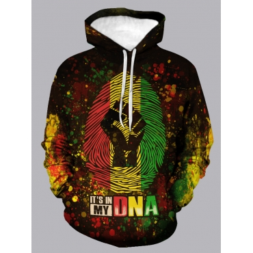 Lovely CasualHooded Collar Letter Print Multicolor