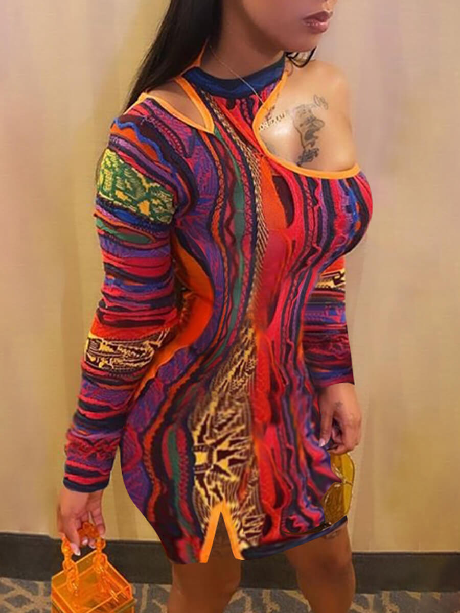 LW SXY Street One Shoulder Hollow-out Print Patchwork Orange Mini Dress