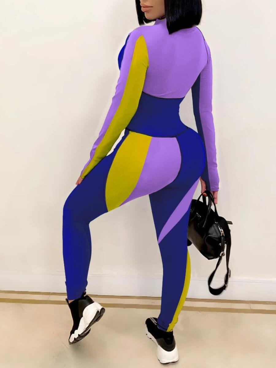 Lovely Chic Color-lump Patchwork Purple One-piece