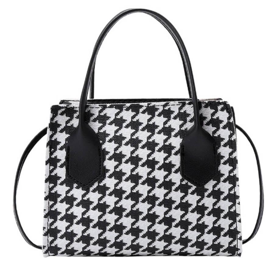 Lovely Casual Plaid Print Patchwork Black PU Crossbody Bag