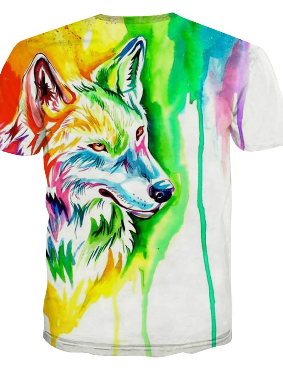 Lovely Casual O Neck Animal Print Multicolor Men T-shirt
