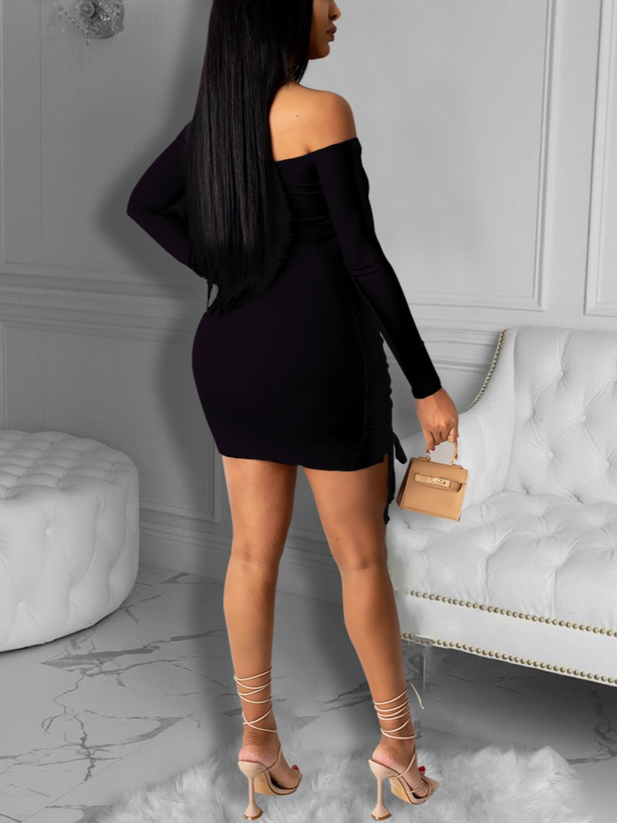 Lovely Sexy Off The Shoulder Bandage Hollow-out Design Black Mini Dress