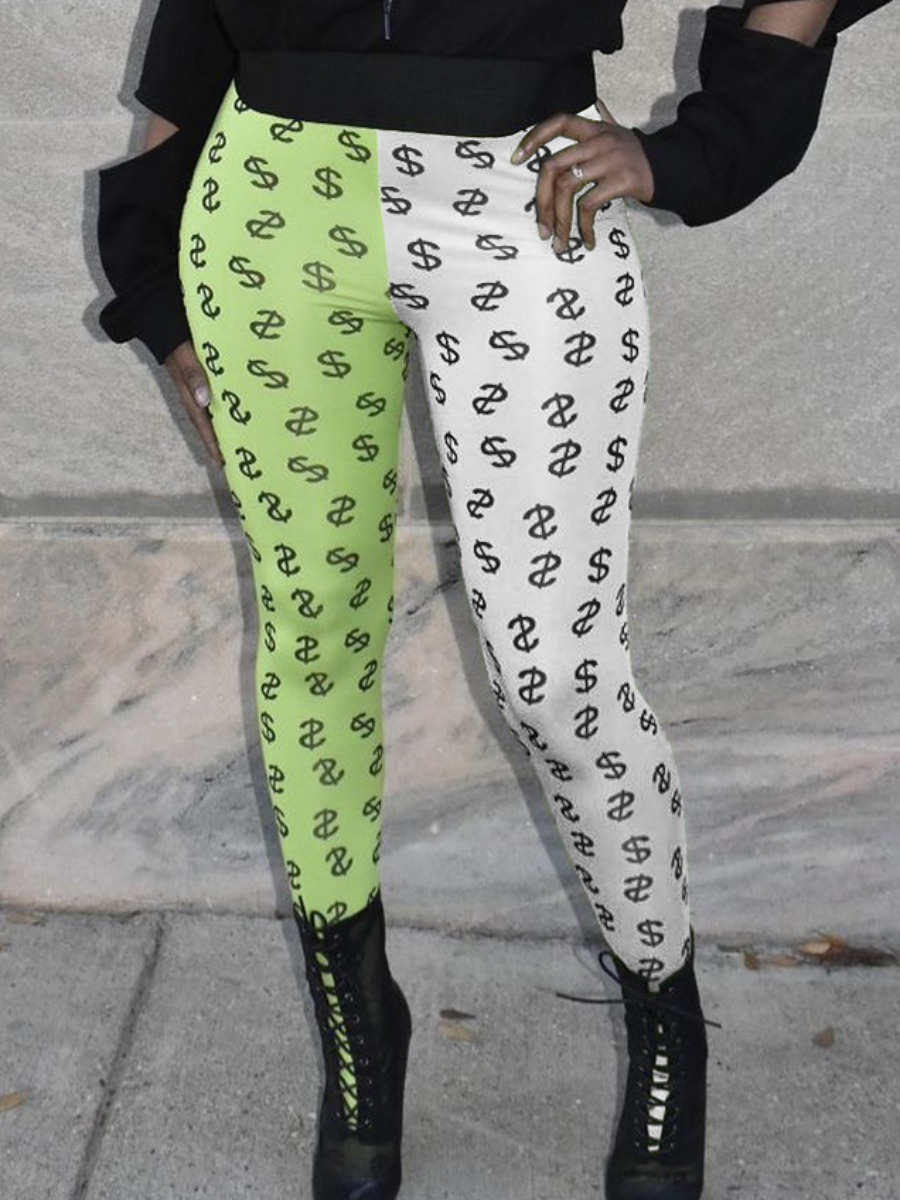 LW Casual Mid Waist Letter Print Patchwork Green Pants(No-positioning Printing)